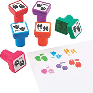 Fun Express Animal Tracks Self Inking Stampers   24 Count   Great for Science Curriculum, Classroom Supply, Student Rewards, Educational Set, Teaching Material