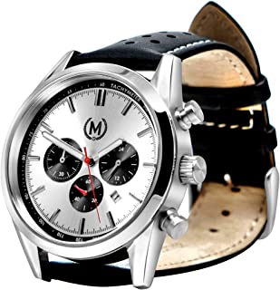 Marchand Tourer Mk2 Racing Watch | Racing Chronograph Watch | British Designed | Chronograph Quartz Movement | Great As A Race or Dress Watch | Leather Band | Watch for Men | 24 Month Warranty