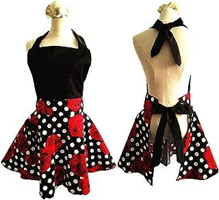 SMARTitns Aprons for Women Plus Size, Womans Apron Retro Vintage Kitchen Cooking Aprons with Pocket(Black+Red)