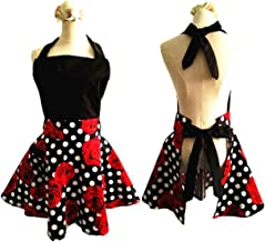 SMARTitns Aprons for Women Plus Size, Womans Apron Retro Vintage Kitchen Cooking Aprons with Pocket(Black+Red)