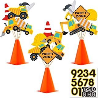 Faisichocalato Construction Party Centerpiece Dump Truck Car Cone Table Topper Decoration Zone Birthday Party Supplies