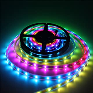 iNextStation Dream Magic Color RGB LED Strip Light 16.4ft/5m 12V SMD5050 6803 IC 133 Color Changes Waterproof IP67 Tube Covered LED String with Controller and RF Remote 【No Power Adapter】