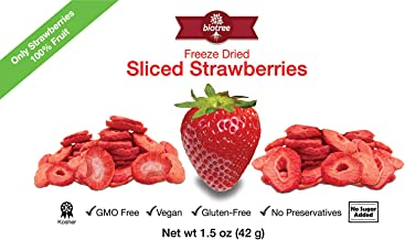 Delicious Strawberry Snack - Freeze Dried Strawberries: 100% Fruit No Added Sugar No Preservatives Vegan Gluten-Free Paleo Delicious Healthy Snack Add to Smoothies Oatmeal Cereal. (Larger 1.5oz size)