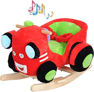 KARMAS PRODUCT Baby Kids Rocking Horse Toy Child Wooden Plush Rocking Horse Chair Rocker/Car Ride on, Without Wheels, with Seat Belt/Music