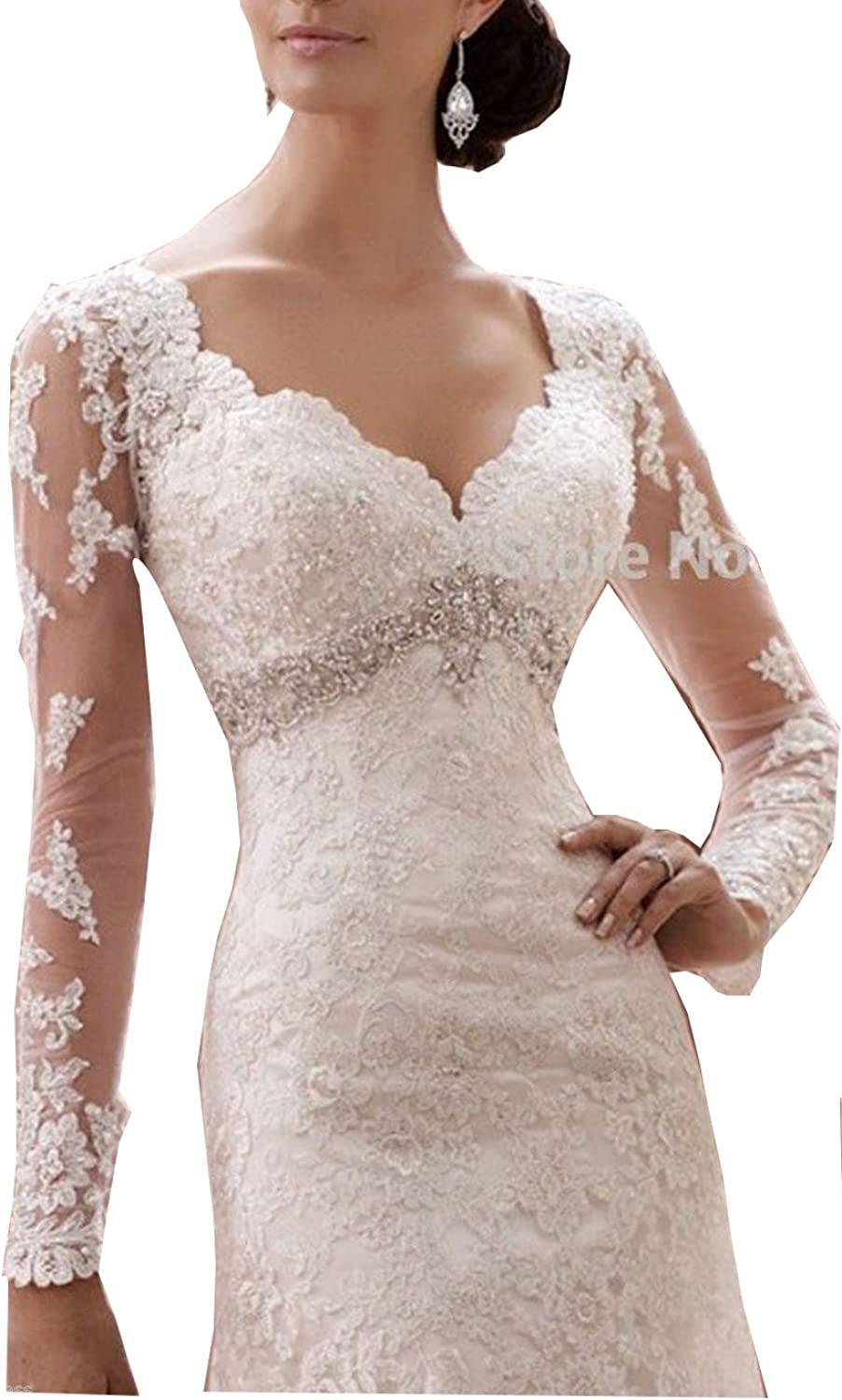 Fanciest Women's Lace Wedding Dresses with Long Sleeves Mermaid Wedding Dress White