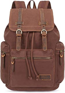 Canvas Vintage Backpack Leather Trim Casual Bookbag Men Women Laptop Travel Rucksack