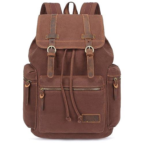 b22bb92e9d5 BLUBOON Canvas Vintage Backpack Leather Trim Casual Bookbag Men Women  Laptop Travel Rucksack