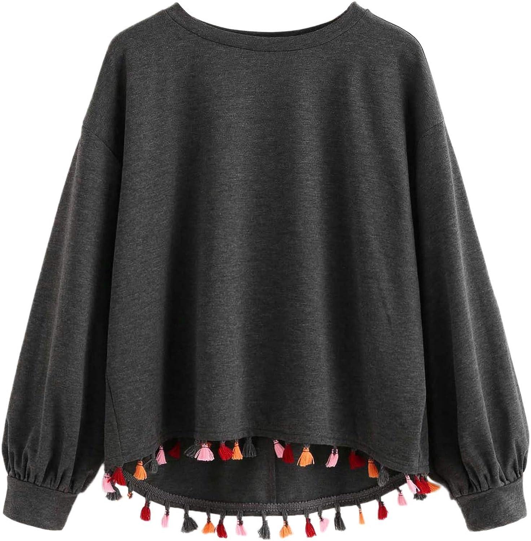 SweatyRocks Casual Sweatshirts Crewneck Long Sleeve Tassel Trim Dip Hem Loose Pullover Lightweight Sweatshirt