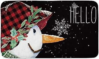 AVOIN Winter Snowman Decorative Doormat Buffalo Plaid, 18 x 30 Inch Christmas Holiday Non-Skid Floor Mat Switch Mat Indoor Outdoor Home Garden