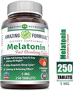 Amazing Formulas Melatonin Quick Dissolve Strawberry - 5 Mg Tablets (Non-GMO) - Helps Fall Asleep Fast & Stays Asleep All Night - Helps Regulate Sleep Cycle - Calming & Relaxing Effect (250 Tablets,