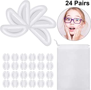24 Pairs Silicone Eyeglass Nose Pads Anti Slip Adhesive Nose Pads with Drawstring Bag for Eyeglasses Sunglasses