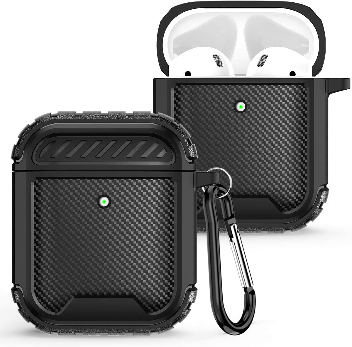 Hocase AirPod Case, Rugged Shockproof TPU 2-Piece Cover Skin Protective Case with Keychain (Front LED Visible) for AirPods 1st Generation 2017/AirPods 2nd Gerneration 2019 - Black