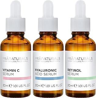 PraNaturals Skin Perfector Face Serums Kit 3x30ml, Hyaluronzuur, Retinol & Vitamine C, Huidverzorging Tegen Veroudering, V...