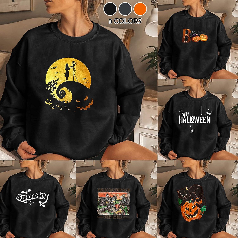 Women's Halloween Crewneck Sweatshirts Funny Pumpkin Printed Blouse Tees Casual Long Sleeve Hoodies Pullover