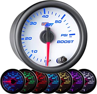 GlowShift White 7 Color 60 PSI Turbo Boost Gauge Kit - Includes Mechanical Hose & Fittings - White Dial - Clear Lens - for Diesel Trucks - 2-1/16