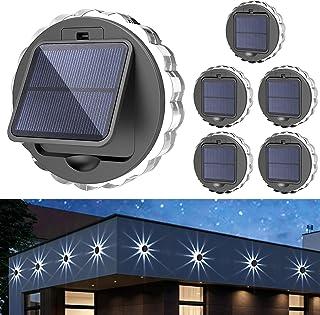 Solar Wall Lights -(6Pack), 3 Mode Dynamic Rotating Lights, IP45 Waterproof Garden, Patio, Passageway, Deck.