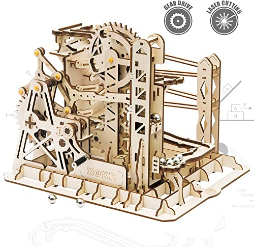 new arrival ROKR 3D Assembly Wooden online sale Puzzle Brain Teaser Game Mechanical Gears Set Model Kit Marble Run Set Unique Craft Kits Christmas/Birthday/Valentine's Gift for Adults & new arrival Kids Age 14+(LG503-Lift Coaster) online