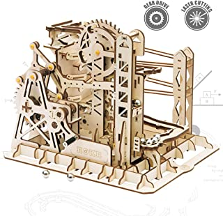 ROKR 3D Assembly Wooden Puzzle Brain Teaser Game Mechanical Gears Set Model Kit Marble Run Set Unique Craft Kits Christmas/Birthday/Valentine`s Gift for Adults & Kids Age 14+(LG503-Lift Coaster)