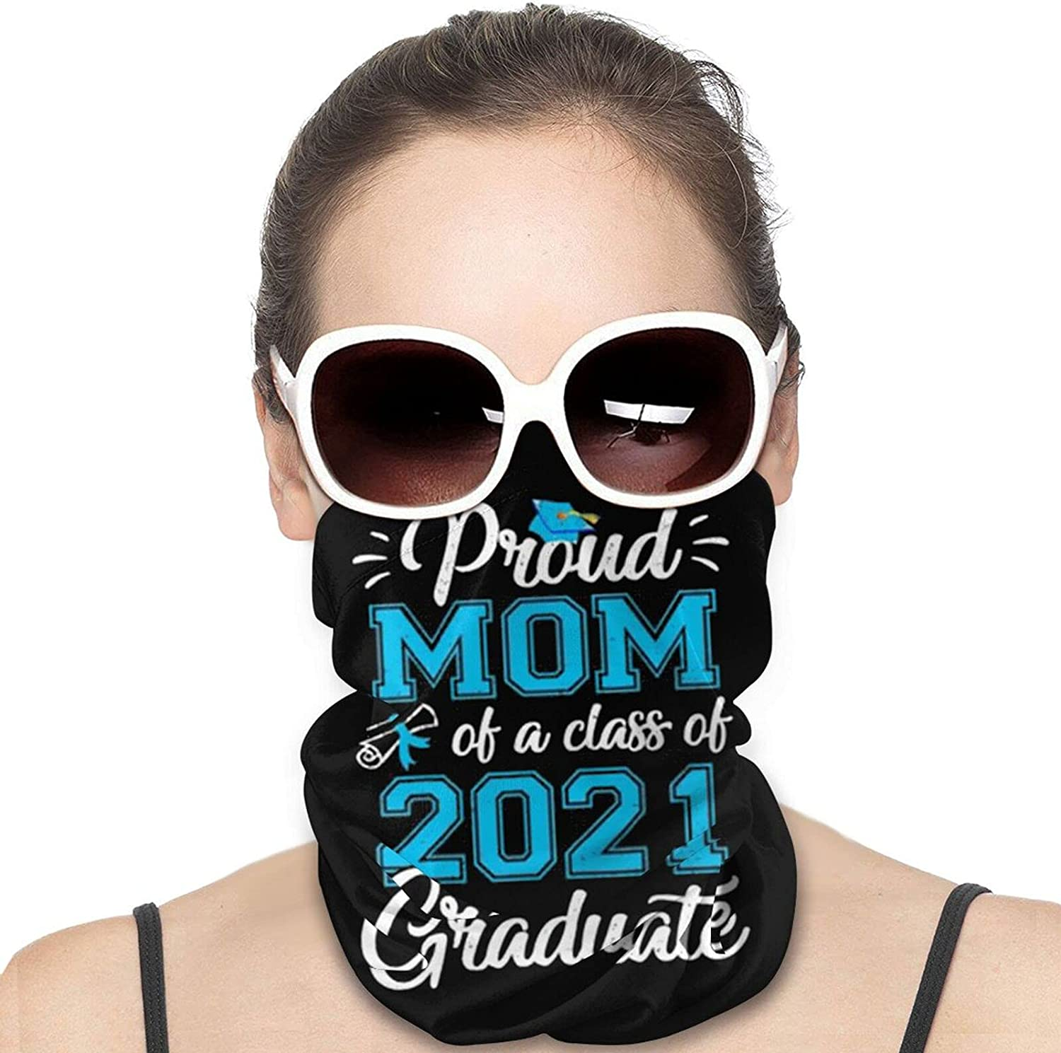 Proud Mom of a Class of 2021 Round Neck Gaiter Bandnas Face Cover Uv Protection Prevent bask in Ice Scarf Headbands Perfect for Motorcycle Cycling Running Festival Raves Outdoors