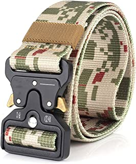 Hefujufang Men's Tactical Belt Military Camouflage Style Nylon Belts Webbing Belt with Heavy-Duty Quick-Release Buckle