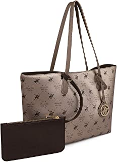 Beverly Hills Polo Club Women's Multi Compartment Bag with a Short Shoulder Strap Comes With An Extra Hand Bag Brown and Red