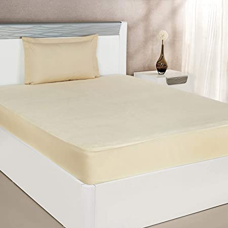 Amazon Brand - Solimo Water Resistant Premium Cotton Mattress Protector ( 72x36 inches - Single Bed Size, Beige )