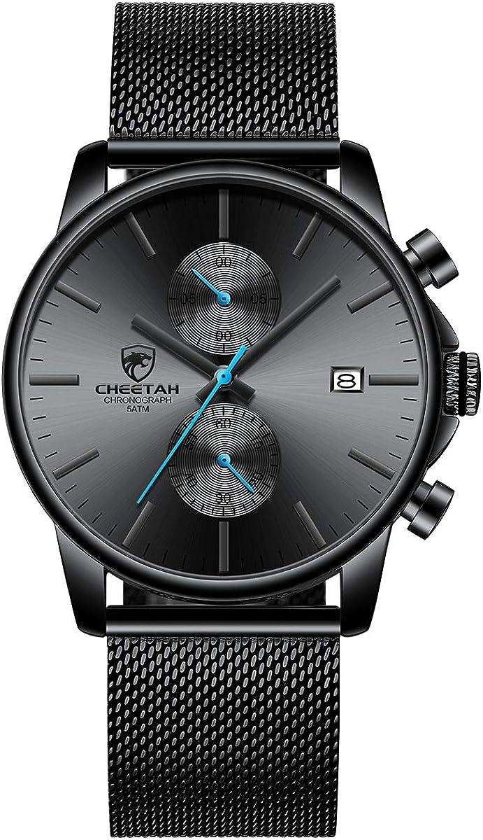 GOLDEN HOUR Men's Watches Fashion Sport Quartz Analog Black Mesh Stainless Steel Waterproof Chronograph Wrist Watch, Auto Date in Blue/Red/Gold...