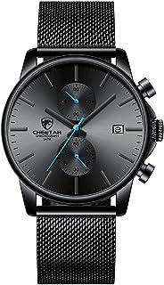 Men's Watches Fashion Sport Quartz Analog Black Mesh Stainless Steel Waterproof Chronograph Wrist Watch, Auto Date in Blue/Red/Gold Hands
