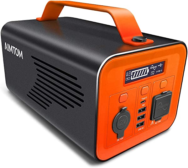 AIMTOM 230Wh 62400mAh Portable Power Station Solar Rechargeable Battery Pack Generator W 110V 200W AC Inverter 12V DC Car Type C PD 3 USB Outputs Pure Sine Wave Power Supply