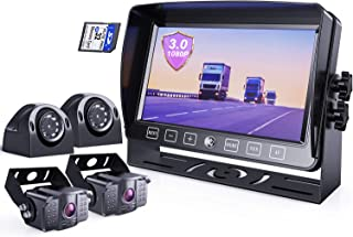 $299 » eRapta Backup Camera System 3.0 with 7'' Monitor for RV Trucks Side/Front/Rear View Back Up Camera Vehicle DVR System IP69...