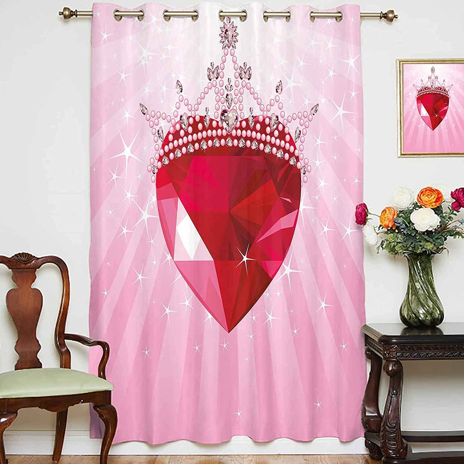 oobon Oklahoma City Mall Shading Curtains Courier shipping free Vibrant Red with Crow Heart Princess Love