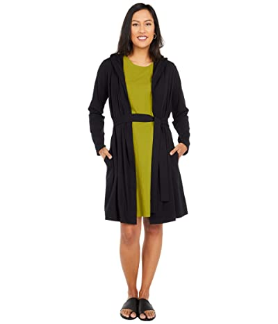 Eileen Fisher Organic Cotton Stretch Jersey Hooded Wrap Jacket (Black) Women