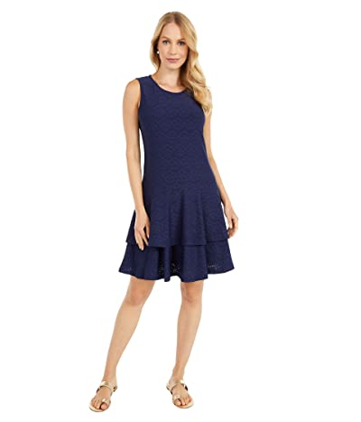 MICHAEL Michael Kors Floral Jacquard Sleeveless Dress (True Navy) Women