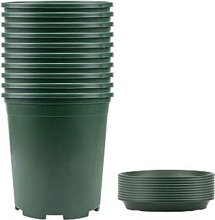 گلدان گلدان Fasmov 10PCS 1 Gallon Durable Nursery Pot گلدان گلدان گلدان گلدان با 10 قطعه تطبیق پالت