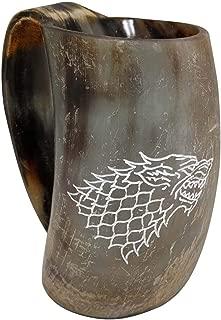 AleHorn Genuine Custom Engraved Viking Drinking Horn Cup Tankard Beer Mead Ale Medieval Stein Mug Handcrafted Ox Goblet Game of Thrones Heroes Food Safe Vessel with Handle 100 Lifetime Warranty