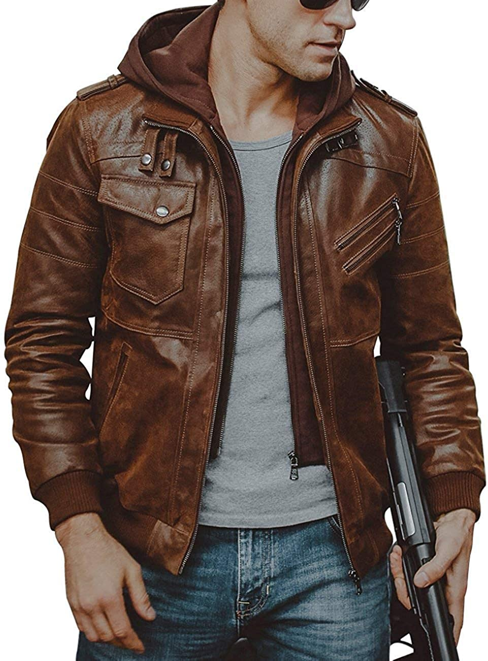 Men Brown Leather with Removable Hood Motorcycle Biker Leather Jacket