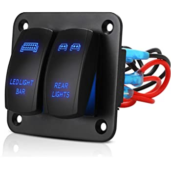 Amazon.com: Linkstyle 2 Gang Rocker Switch Panel Aluminum 5 Pin On Off Toggle  Switch with Blue Backlit LED, Led Light Bar 12V/24V Pre-Wired Switch Panel  for Car Truck Boat Marine ATV UTV:Amazon.com