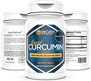 Natural Stacks: Liquid Curcumin- Turmeric Supplement - 30-Day Supply (60 Count) - Active Anti-Inflammatory Compound from Turmeric - Join Health Support - May Boost Metabolism