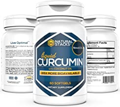 Natural Stacks Turmeric Curcumin 60 ct. - 185x More Bioavailable Liquid Soft Gel - Supports Healthy Joints, Brain Function...
