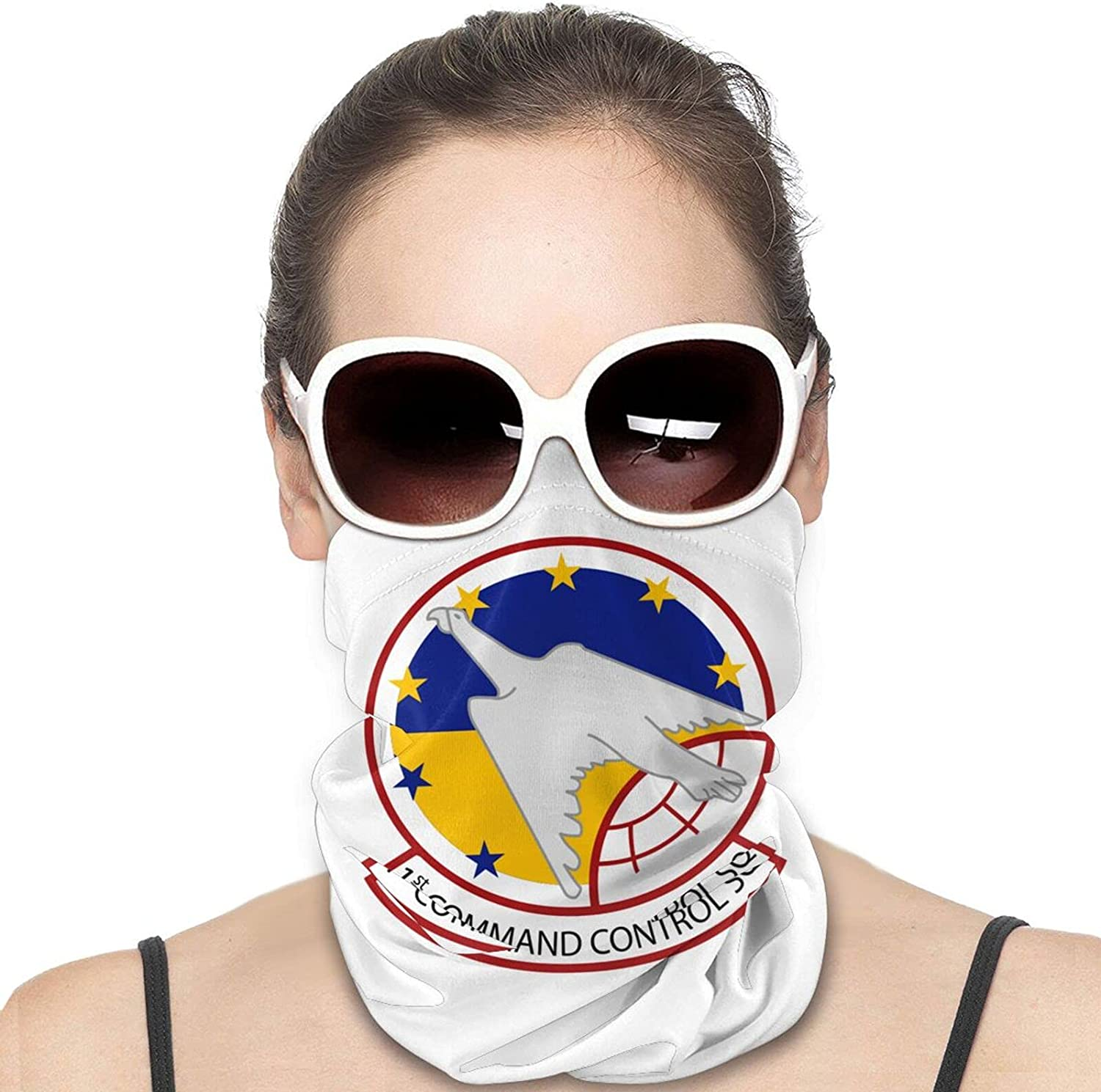 1st Command Control Squad-ron Round Neck Gaiter Bandnas Face Cover Uv Protection Prevent bask in Ice Scarf Headbands Perfect for Motorcycle Cycling Running Festival Raves Outdoors