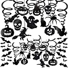 Winlyn 48 Pcs Halloween Hanging Swirl Decorations Party Swirls Streamers Haunted House Hanging Ceiling Chandelier Décor with Bats Witch Pumpkin Skull Ghost Cat Spider Cutouts and Bats Stickers