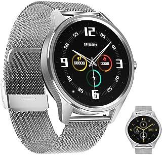 APCHY Reloj Inteligente Smartwatch De Negocios, Rastreador De Ejercicios Negro para Hombres con Pantalla Redonda De 1.28 Que Puede Monitorear El Ejercicio del Sueño con Frecuencia Cardíaca,Plata