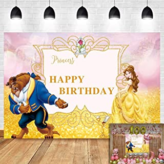 Beauty and The Beast Photography Backdrop for Children Happy Birthday Party Decoration Banner Photo Background Gold Princess Photo Booth Studio Props Supplies Baby Shower Dessert Table Vinyl 5x3ft