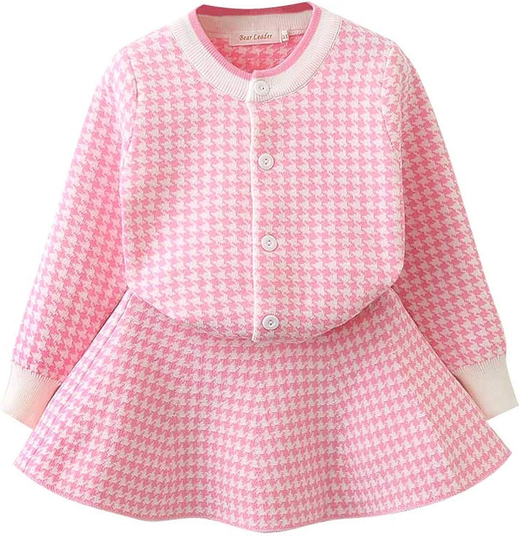 Girls Dress 2018 Winter Geometric Pattern Dress Long Sleeve Girls Top Coat Tutu Dress Sweater Knitwear 2Pcs,Pink Az410,5