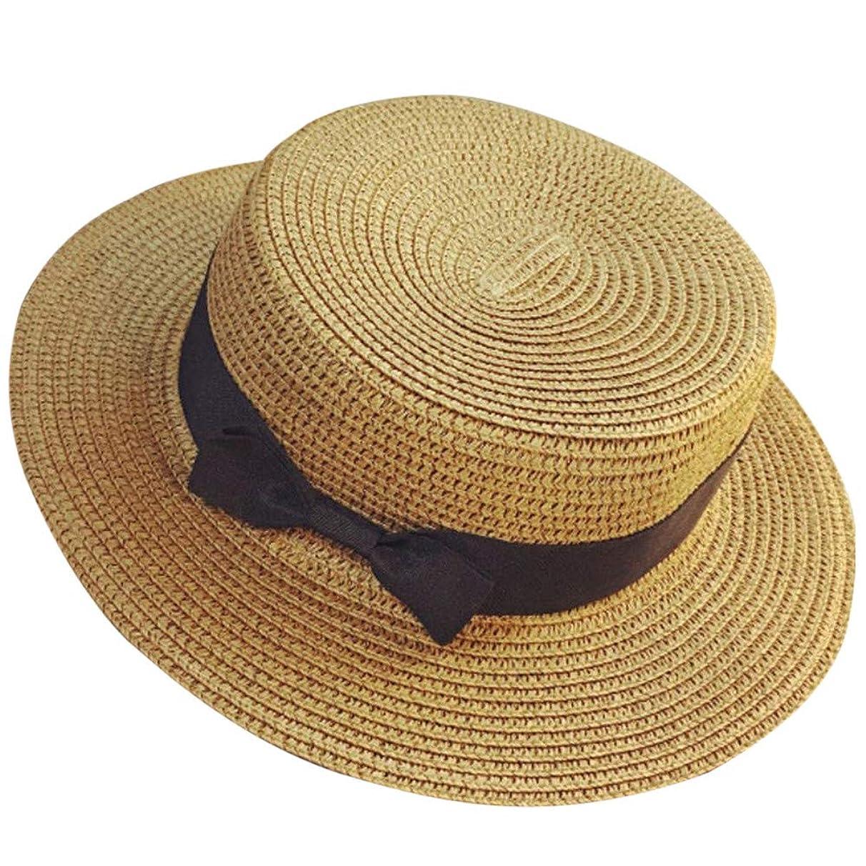 Unisex Trilby Gangster Cap Beach Sun Straw Hat Bow Tie Band Sunhat