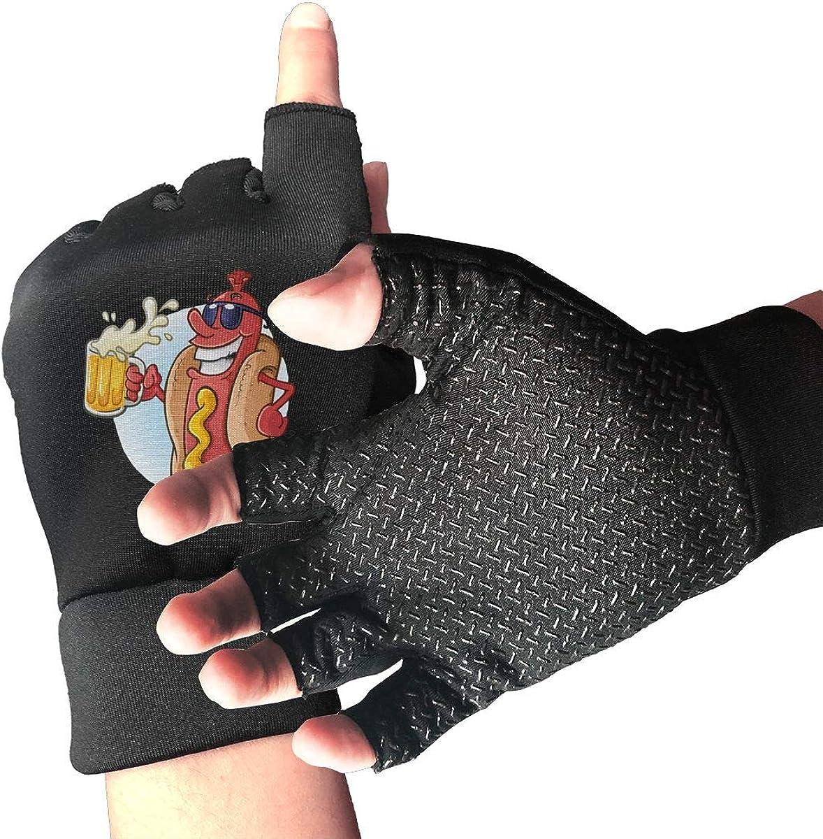 Gloves Cool Beer Hot Dog Fingerless Gloves Short Touchscreen Gloves Winter Motorcycle Biker Mitten