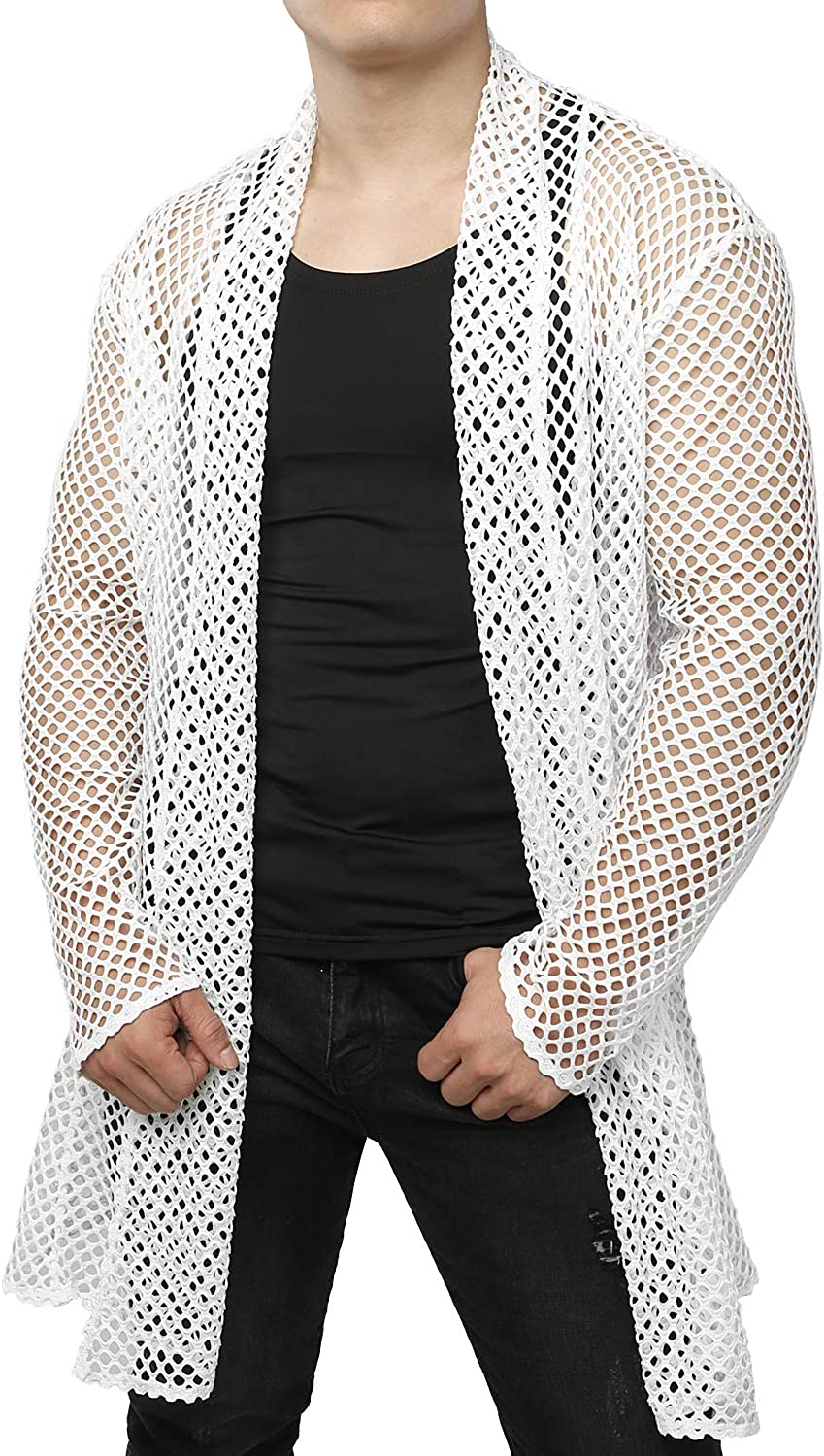 JOGAL Men's Mesh Fishnet Cardigan Fitted Muscle Top