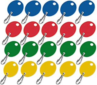 Lucky Line Oval Key Tag with Hook in Assorted Colors, 20 Pack (258099)