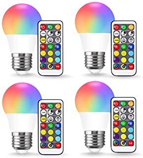JandCase A15 3W Color Changing LED Bulbs, RGB+Warm+Daylight White(17 Color Choices), Timing by Remote Control, Halloween Party Decor, Dimmable Table Floor Light Lamp, Ceiling Fan, E26 Base, 4 Pack