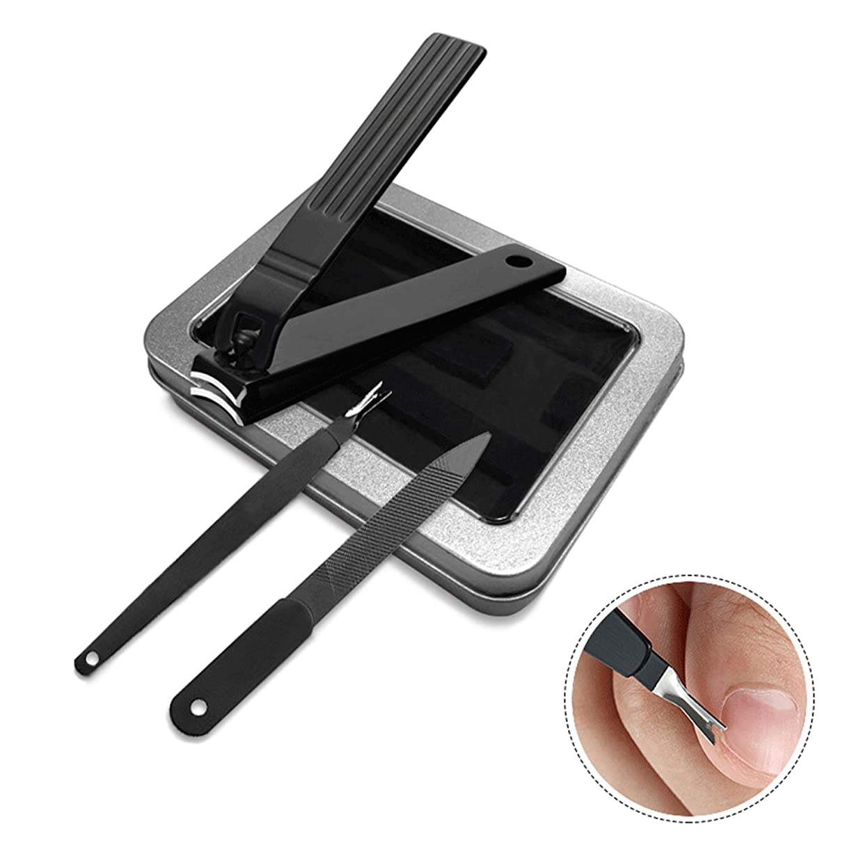 眉争い第二HOTOP–ブラックステンレス鋼の爪と爪切りの鋭いネイルカッターの3セットネイルクリッパーセット